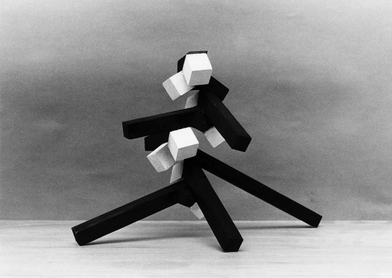 Small Stack with White Cubes.  by Norman Dilworth
